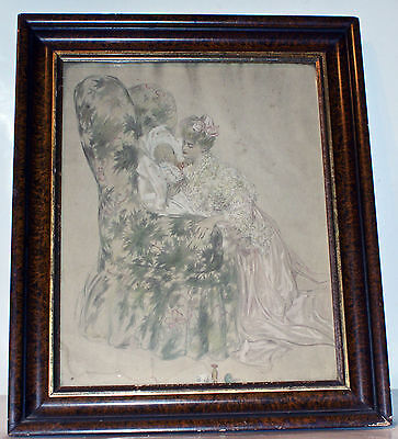 Vintage Black And White Print Of Mother And Baby In Antique Frame•Estate Item