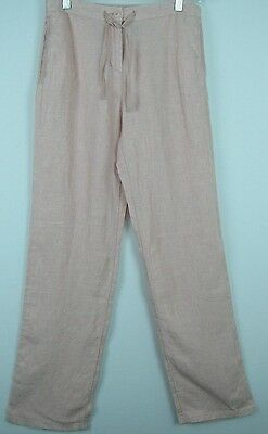 BODEN Women's Light Pink Apricot Cropped Linen Pants US Size 14 Long NEW