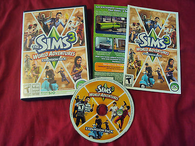 THE SIMS 3 WORLD ADVENTURES PC And MAC Disc Manual Case And Art Near Mint To VG