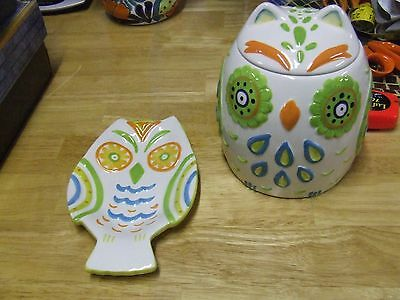 Clay Art Colorful Owl Cookie Jar and Spoon Rest Hand Painted