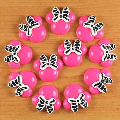 10pcs Resin Hot Pink Minnie Mouse Flatback Scrapbooking Hair Bow Center Craft #2