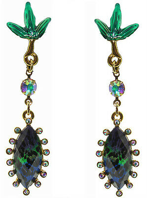 Betsey Johnson Asian Jungle Green Leopard Teardrop Green Leaf Earrings NWT