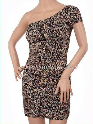 2015 Women's Sexy One Shoulder Leopard Club Evening Mini Dress Cocktail Party