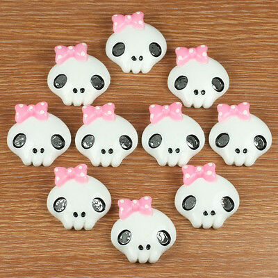 Lot 10 pcs Monster High Dolls Inspired Skull Pink Bow Resin Flatbacks Crafts A2