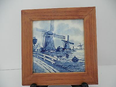 Blue and white framed delft tile made in Holland