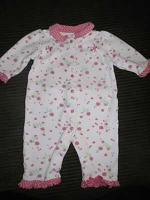 Carter's Baby Girl Pink Polka Dot & Floral Button up One Piece Size 6 mo So Cute