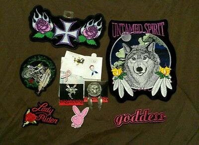 Lot of 6 lady biker patches and 5 pins