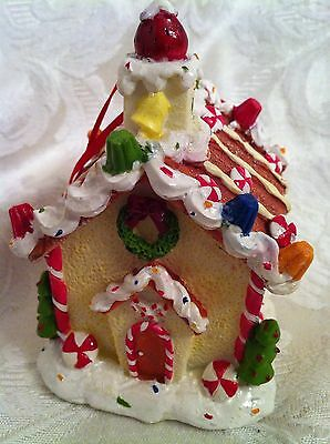Candy Cane Gumdrops Gingerbread House Christmas Ornament Holiday Decor
