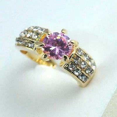 Stunning Vintage   zircon cut crystal 18k gold filled lady shining ring size7