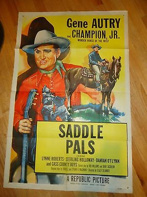 Saddle Pals ORG R1953 Movie Poster One Sheet Gene Autry Cowboy Western