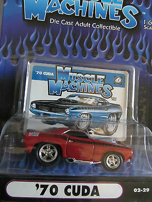 Muscle Machines 1970 Plymouth Barracuda  Red    02-29    1:64 scale  (12)