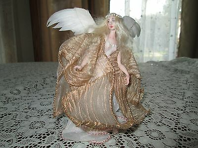 Miniature Angel, artist unknown, with Mohair and real feathers