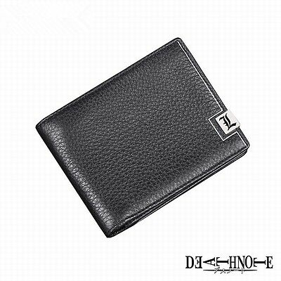 Death Note Letter L Black Genuine Leather Folded Purse Wallet Anime Cosplay