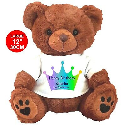 """Personalised Brown  Teddy Bear 25Cm/10"""" Sitting  Birthday Any Occasion Gifts"""