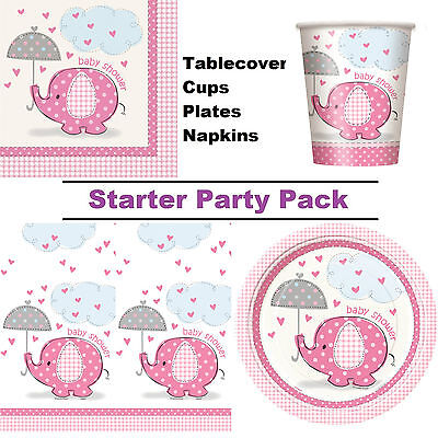 Pink Elephant Girls Baby Shower 8-48 Guest Party Pack - Cups | Plates | Napkins