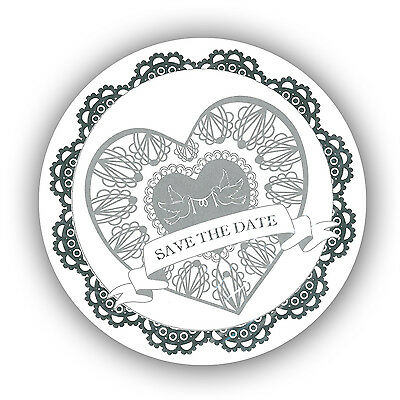 Save The Date Wedding Invites Silver and White (64 Invites)