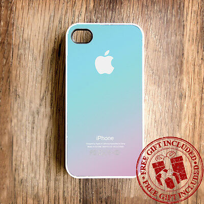 Pastel Ombre Pink Aqua Blue(White)Custom Print Case for iPhone 4/4s+Free Gift