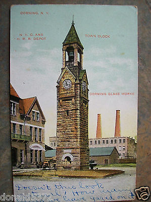 Corning NY Clock Tower and Glass Works 1908 Postcard