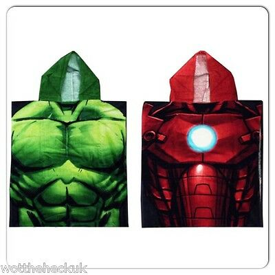 Official Boys Marvel Avengers Towel Poncho Hulk Ironman Swimming Beach Bath