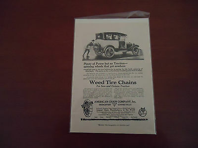 VINTAGE  1900's WEED TIRE CHAIN  ORIGINAL FULL PAGE AD