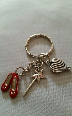 Ruby slippers, Wizard of Oz Keyring key chain fairy wand, hot air balloon