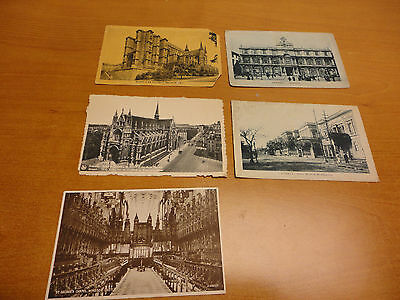 Lot of 5 Vintage Postcards, all European. Brussel, Windsor Castle, Catania Itlay