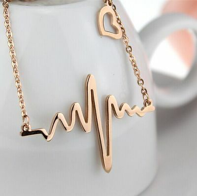 women's new rose gold good gift for lover stainless steel heart beating necklace