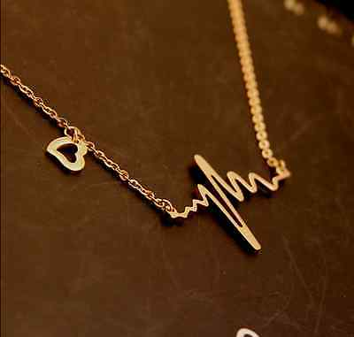 womenfashion yellow gold gift for lover stainless steel heart beating necklace
