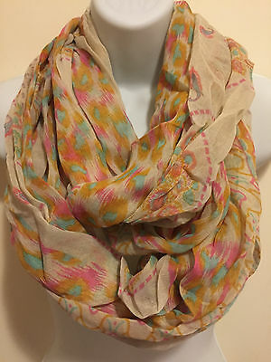 NWT D&Y Women Fashion Floral Paisley Leopard Print Circle Loops Infinity Scarf