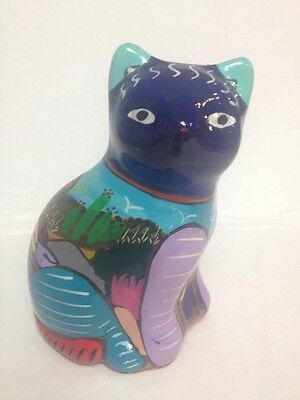 VINTAGE TERRACOTTA RED CLAY POTTERY HANDPAINTED CAT FIGURE MEXICO