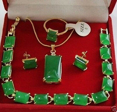 beautiful natural green jade bracelet pendant earring ring chain jewelry set
