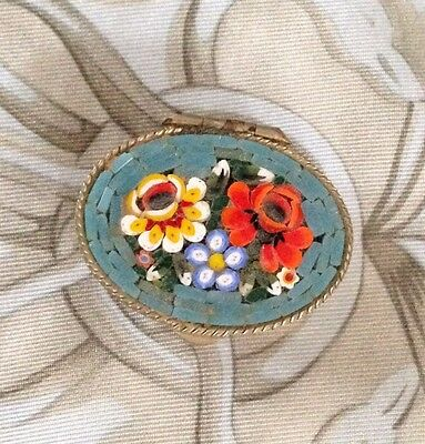 Vintage Italian Micro Mosaic Pill Box With Beautiful Floral Design. Great!