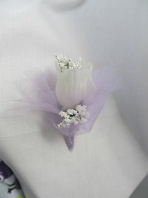 White Lavender Silk flower Rose Baby's breath bridal wedding ball pin corsage