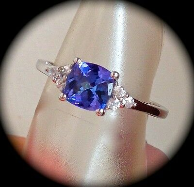 'CERTIFIED' ATTRACTIVE CUSHION SHAPE AA TANZANITE 9K W GOLD RING SIZE L 1/2-BNWT