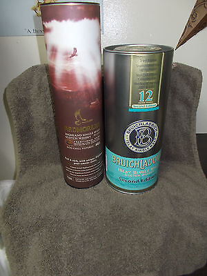 SET of 2  SCOTCH WHISKY- SINGLE MALT CANISTERS - BRUICHLADDICH 12 YEAR & ARDMORE