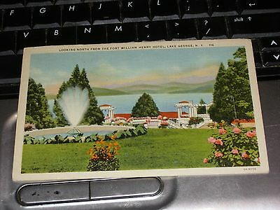 Postcard Linen Fort William Henry Hotel Lake George 1940 Fountain Beautiful PC