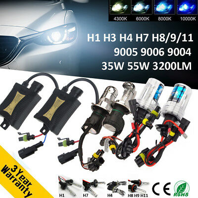 Xenon Hid Conversion Slim Kit 55W Headlight H1 H3 H4 H7 5000K 6000K Plug & Play