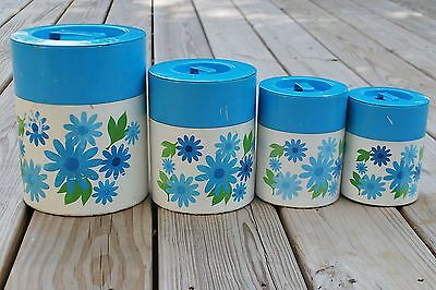Canisters Metal Blue Flowers 4 Piece 1960's Nesting Vintage Kitchen Storage