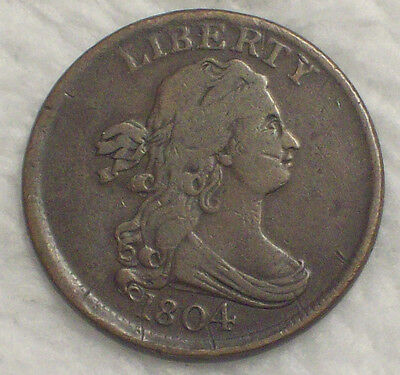 1804 HALF CENT RARE VF Detailing C-10 Variety Crosslet 4 with Stems Authentic