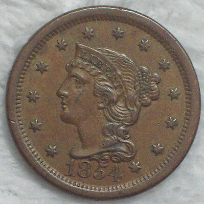 1854 Large Cent - Awesome AU Detailing Authentic N-9 Variety *PRICED TO SELL*