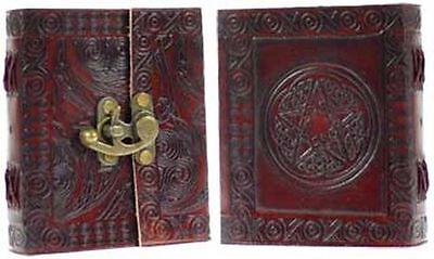 Celtic Pentagram Leather Journal with Latch Blank Book of Shadows Diary Handmade