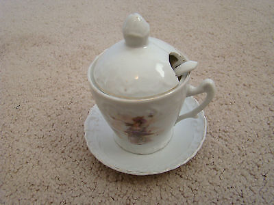 Antique Porcelain Mustard Set of Four Victorian  Germany Very Good NR