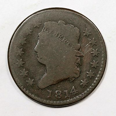 1814 S-295 Double Struck Brockage Maker Classic Head Large Cent Coin 1c