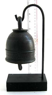 SUPERP 19th.c MANDALAY Bronze Buddhist Temple Bell Beautiful Tone & Free Stand