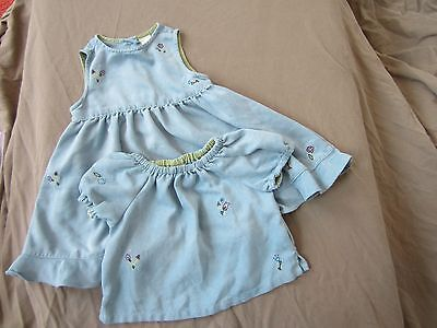 Baby Gap toddler girls blue really soft sleeveless dress with top 12-18 M
