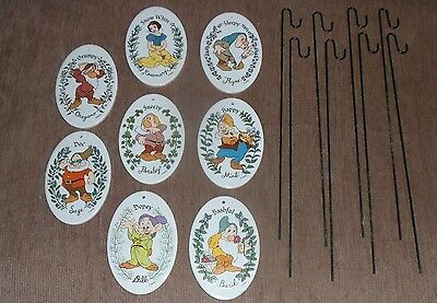 Disney Snow White and the Seven Dwarfs Herb Ceramic Garden Markers with Stakes