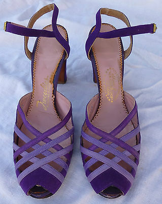 Amazing 1930's-40's tri-tone Purple suede strappy heels- 8A