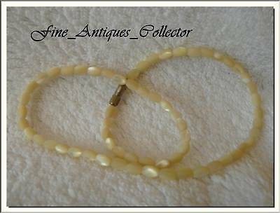 GORGEOUS MOTHER OF PEARL BEADS FINE ANTIQUE NECKLACE . VISIT MY STORE !!!