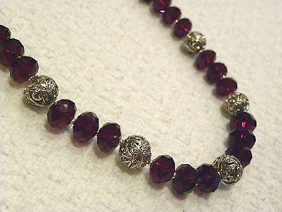 JONES NEW YORK RED FACETED BEADED NECKLACE, GOLD BALLS W/ CRYSTALS, NWT $38!