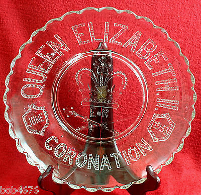 "Whitefriars Queen Elizabeth II Royal Coronation 9-3/4"" Pressed Glass Plate NICE!"